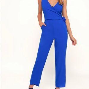 Blue sleeveless jumpsuit